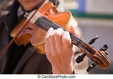 les, homme, jeux, a, violin.