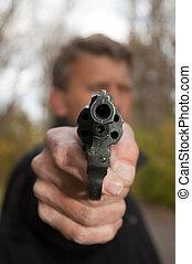 les, homme, vise, depuis, revolver