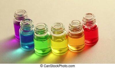 les, huile, bouteilles, couleur, six, arc, stand,...