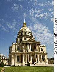 Les Invalides Hotel in Paris - Wide angle view of the famous...