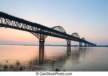 les, jiujiang, yangtze rivière, pont