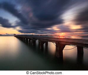 les, long, pont bois