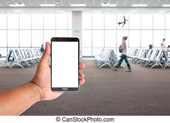 les, main, de, homme, prise, téléphone portable, sur, gens, are, attente, pour, les, airpalne