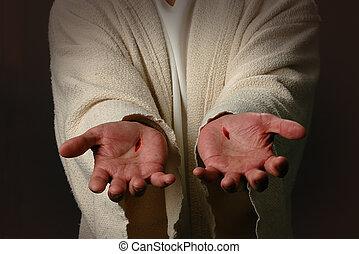 les, mains, de, jésus