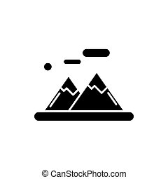 les, montagnes, noir, icône, vecteur, signe, sur, isolé, arrière-plan., les, montagnes, concept, symbole, illustration