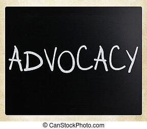 les, mot, 'advocacy', manuscrit, à, blanc, craie, sur, a,...
