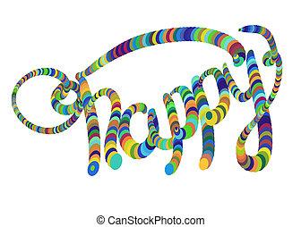 les, mot, heureux, écrit, par, coloré, circles., isolé, blanc, arrière-plan., lettrage