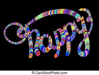 les, mot, heureux, écrit, par, coloré, circles., isolé, sur, noir, arrière-plan., lettrage