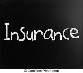 """les, mot, """"insurance"""", manuscrit, à, blanc, craie, sur, a, tableau noir"""