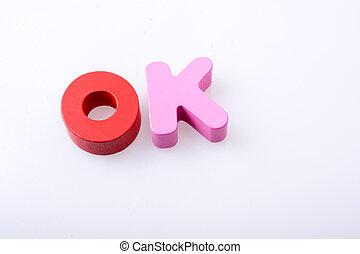 les, mot, ok, écrit, à, lettre, blocs