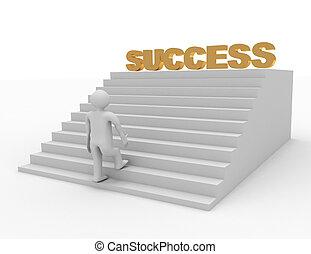les, mot, reussite, sommet, personne, avoir, escalier grimpeur, 3d