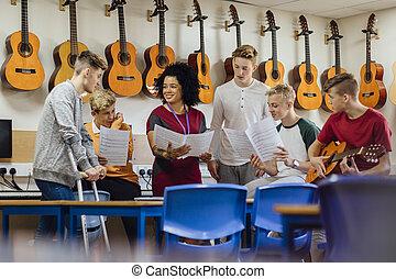 les, muziek, school