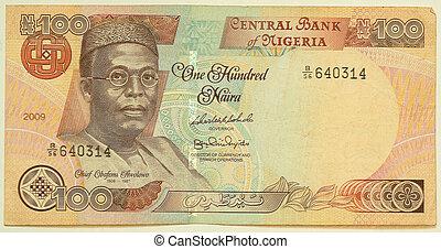 les, naira, est, les, monnaie, de, nigeria., 100, naira.