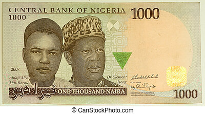 les, naira, est, les, monnaie, de, nigeria., 1000, naira.