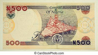 les, naira, est, les, monnaie, de, nigeria., cinq cents, naira