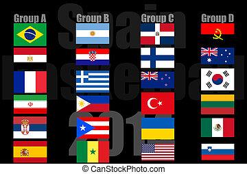 les, national, drapeaux, de, pays