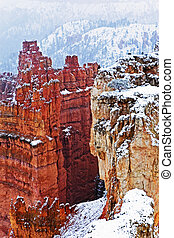 les, neige a couvert, canyons, de, bryce canyon