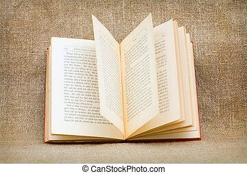 les, ouvert, vieux, livre