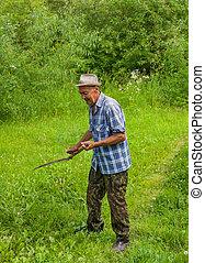 les, paysan, mows, les, herbe