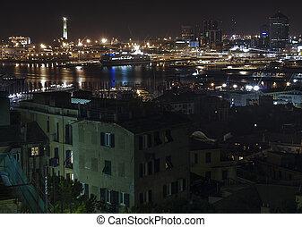 les, port, de, gênes, par, nuit