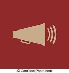 les, porte voix, icon., bullhorn, symbole., plat