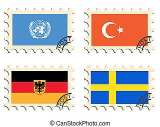 les, poste, timbres, de, les, pays