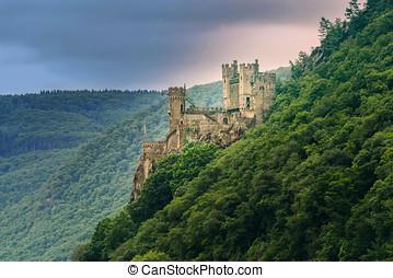 les, rheinstein, château, dans, allemagne