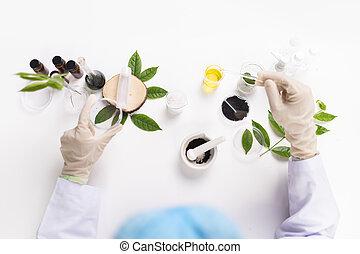 les, scientifique, essai, les, organique, naturel, cosmétique, produit, dans, les, laboratory., recherche développement, beauté, skincare, concept