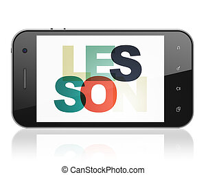 les, smartphone, display, concept:, studerend