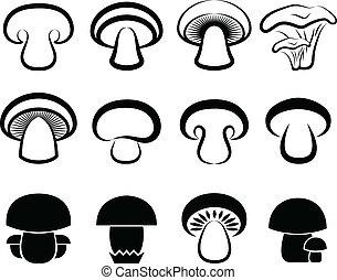 les, stylisé, champignons