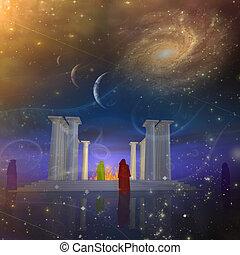 les, temple, brumes