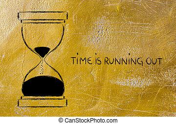 les, temps, est, courant, dehors, sablier, conception
