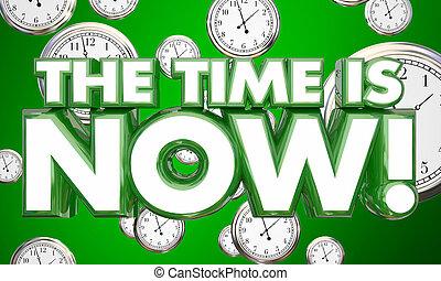 les, temps, est, maintenant, clocks, urgent, appeler, à, action, 3d, illustration