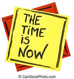 les, temps, est, maintenant, rappel, note