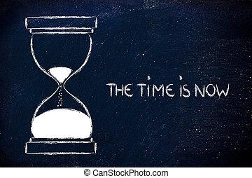 les, temps, est, maintenant, sablier, conception