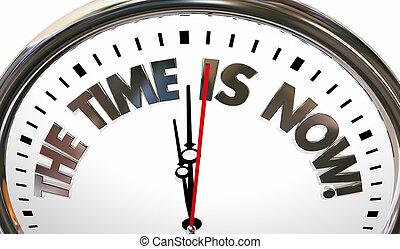 les, temps, est, maintenant, urgent, action, needed, horloge, 3d, illustration