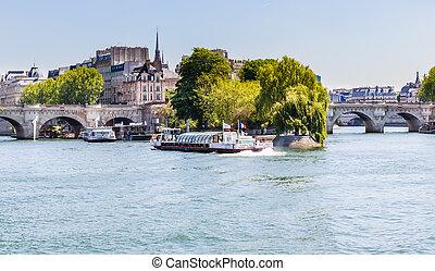 les, vedettes, du, pont neuf, bateau tour, sur, les, rivière seine, près, a, bridge., paris, france