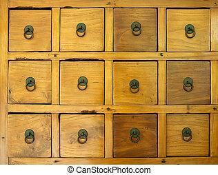 les, vieux, bois, tiroir