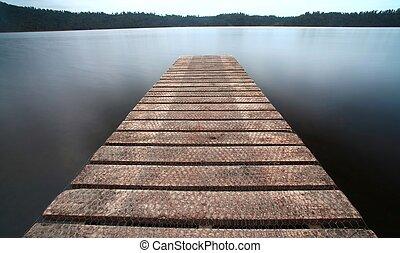 les, vieux, jetée, walkway, jetée, les, les, lac