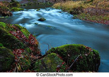 les, vodopád, podzim, malý, překrásný, zátoka, opadavý