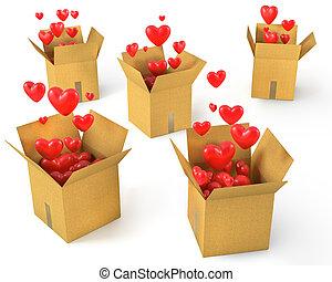 les, voler, boîtes, lot, cœurs, carton, rouges, dehors