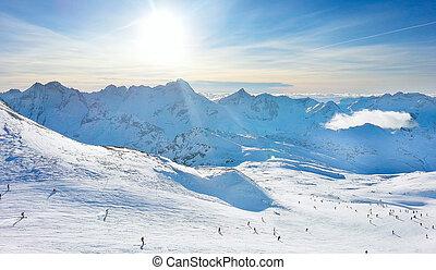 les2alpes, refúgio esqui, declives, vista aérea, frança