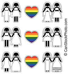 Lesbian brides icon set with rainbo