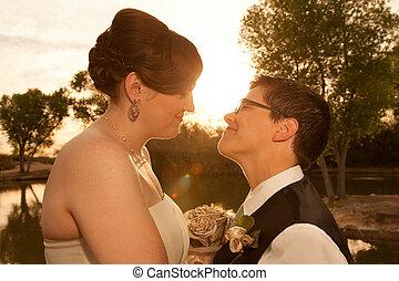 Lesbian Civil Union - Smiling pair of white lesbian women in...
