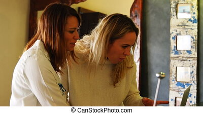 Lesbian couple discussing over laptop in kitchen 4k -...