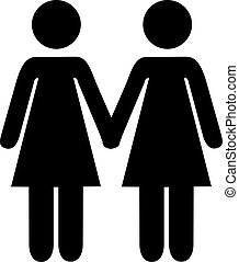 Lesbian couple hand in hand icon