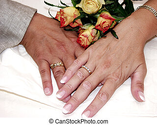 newly wed lesbian couple showing hands with rings in flower setting. Lifestyle, gay, lesbian concept.