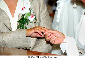 Lesbian couple, newly wed. - newly wed lesbian couple...