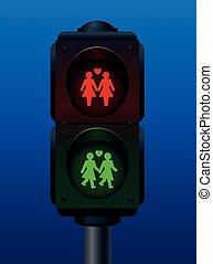 Lesbian Couple Pedestrian Light Tra