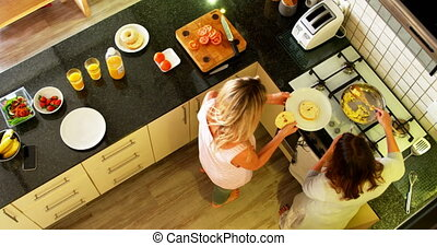 Lesbian couple serving food in kitchen at home 4k - Overhead...